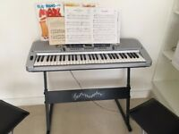 Pitchmaster 61 Key Silver Electronic Music Piano Keyboard with Stand