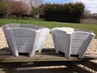 2 x Shabby Chic, weathered wooden rustic planters - unused