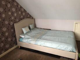 Kingsize Hygena Luca studded fabric bed frame