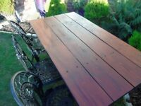 SELLING LARGE GARDEN TABLE ~ SEATS 8 ~ HEAVY CAST IRON BASE ~ CHAIRS NOT INCLUDED