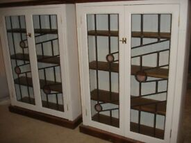Selection of solid wood, stained glazed cabinets...