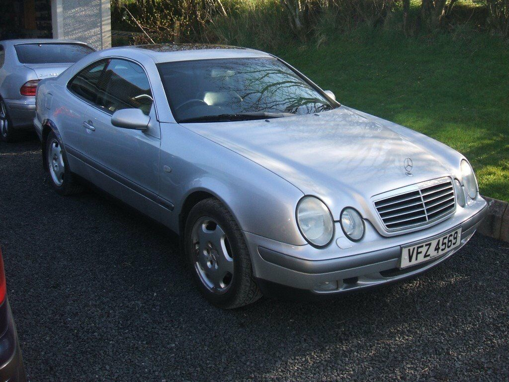 mercedes benz clk 230 kompressor w208 silver coupe auto automatic black leather long mot good. Black Bedroom Furniture Sets. Home Design Ideas