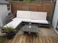 SOLD Upcycled outdoor shabby chaise corner sofa