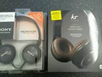 KITSOUND BLUE TOOTH HEAD PHONES NEW & SONY ALSO NEW