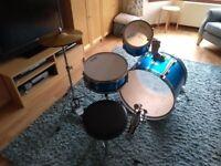Drum Kit - Stagg 3 Piece + Hi-hat & Stool - Bass Drum, Snare, Hi Tom, Hardware & Sticks