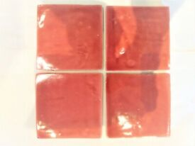 Totally unique hand made soft pale red glazed terracotta tiles