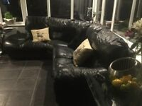 DFS Black leather 5 seater corner suite 9 years old