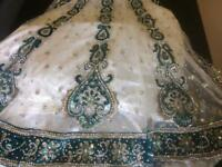 Wedding Dress - Jade Green & White Size M-L