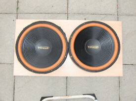 Speakers ,Two Large speakers made by Tornado. Deep Base range they have a diameter of 16inch