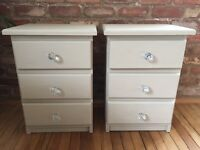 Shabby chic pair of bedside drawers Annie Sloan country grey