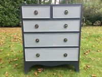 Hand painted vintage small chest of drawers in graphite & grey