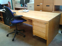 3 drawer office desk with ergonomic chair