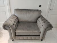 Ikea Velvet Armchair Sofa, like new. GREVIE.