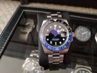 Famous brand watch homage GMT watch, automatic, ceramic, blue lume