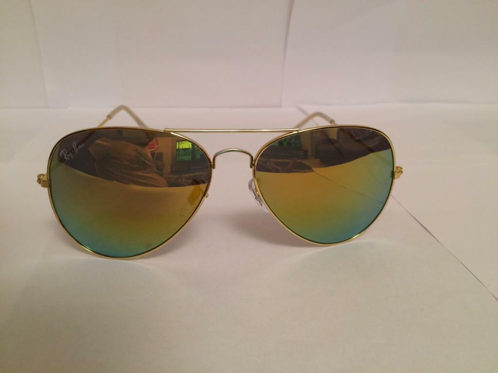 Ray Ban Aviator Sunglasses RB3025 (gold frame/rainbow yellow lens)