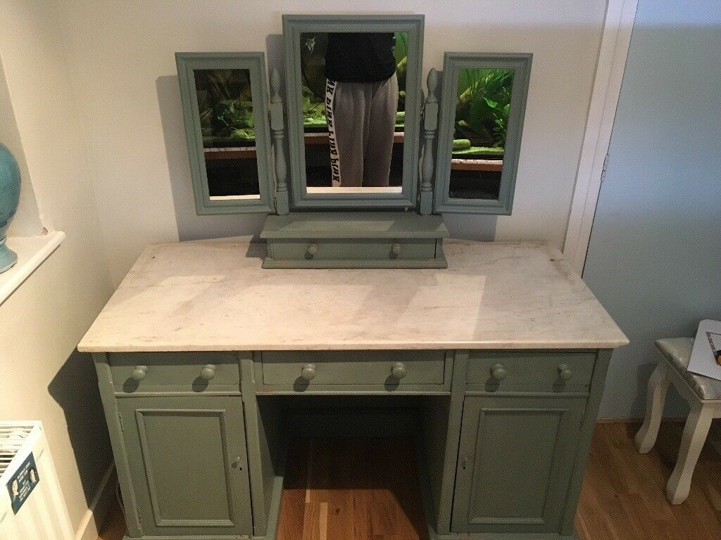Refurbished Annie Sloane painted dressing table with marble top