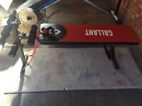 Flat and decline bench with resistance bands