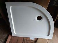 900x760mm Offset Quadrant Easy Plumb Stone Shower Tray