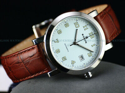NOS Edox 40mm Men's Swiss Made ETA 2824 Automatic Sapphire Classic Leather Watch
