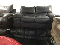 Italian leather 3 and 2 sofas in brown