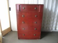 VINTAGE FIVE DRAWER CHEST OF DRAWERS FOR REFURB.