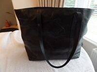 'Jaeger' black leather shopper with twin shoulder straps