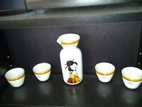 Saki tea set with small pitcher and 4 small cups