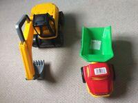 Dumper Truck, Digger and Monster Truck