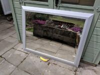 Large Mirror in Grey Wooden Frame