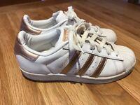 Adidas Superstars. UK Size 4. Rose Gold.