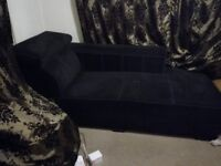Sofa 3 / 4 seat Black fabric with Extendable headrest