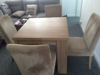 Woode Dining Table and 4 dining chairs from Next