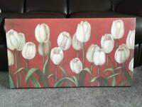 Canvas Frame Tulips On Red