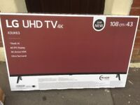 Brand new sealed LG 43 uk6300plb LED 2018 model. Smart, internet, Bluetooth, freeview play. Apps,TVS