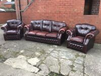 ANTIQUE BROWN LEATHER CHESTERFIELD 3 PIECE SUITE 3 SEATER 2 CHAIRS FULL MATCHING SET CAN DELIVER