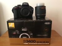 Nearly New Nikon D3400 with AF-P 18-55mm VR lens