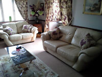 Cream Genuine Thick Leather Sofas and Chair