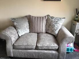 Beautiful Bayswater grey damask / crush velvet sofa and 2 chairs