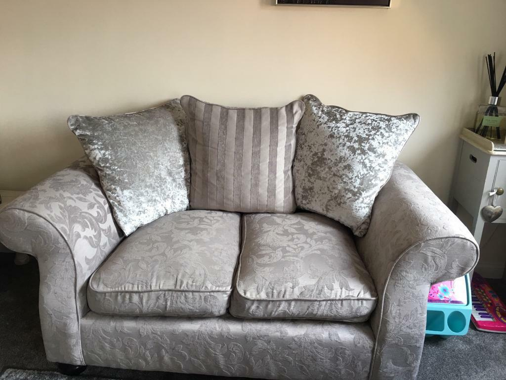 Beautiful Bayswater Grey Damask Crush Velvet Sofa And 2