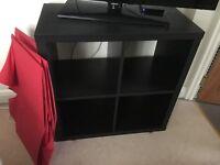 IKEA Kallax 2x2 black-brown unit with boxes