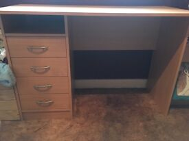 Beech desk with built in drawers