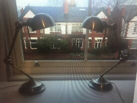 Pair of brushed steel anglepoise style table/desk lamps
