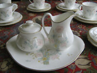 Royal Doulton Flirtation milk jug, sugar bowl, sandwich plate