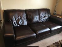 3 seater leather dfs sofa