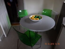 Contemporary Designer German Kitchen table and 3 Emerald Acrylic Designer chairs