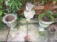 Two garden urns, bust and sun dial