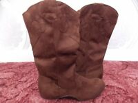ladies brown suedette boots, flat and comfortable.