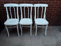 3 German bentwood shabby chic dining kitchen chairs