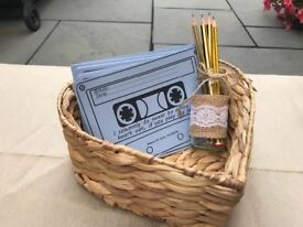Heart shaped basket and pencil pot song request idea wedding rustic