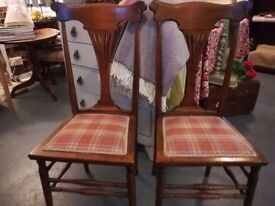 TWO pretty recovered hand chairs